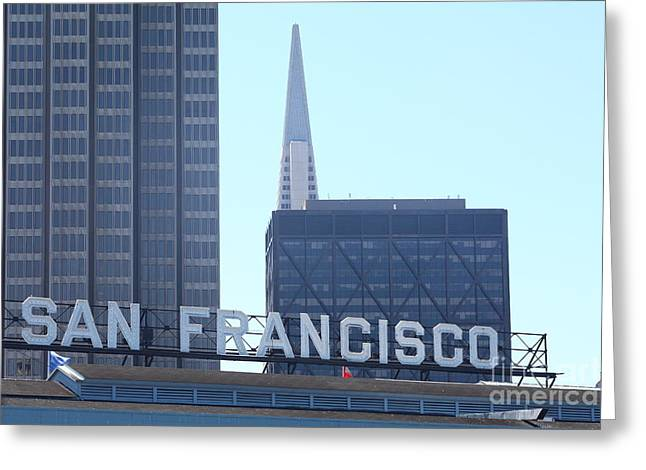 Downtown San Francisco Greeting Cards - Port of San Francisco Ferry Building on The Embarcadero 5D29446 Greeting Card by Wingsdomain Art and Photography
