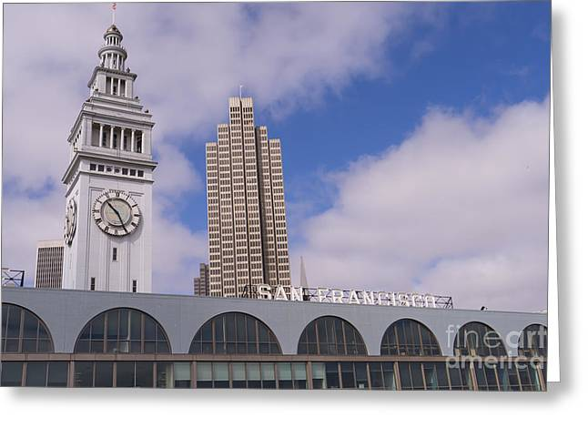 Port Of San Francisco Greeting Cards - Port of San Francisco Ferry Building on The Embarcadero DSC1562 Greeting Card by Wingsdomain Art and Photography