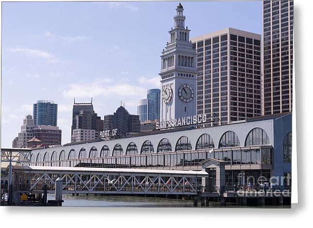Port Of San Francisco Greeting Cards - Port of San Francisco Ferry Building on The Embarcadero DSC1569 Greeting Card by Wingsdomain Art and Photography