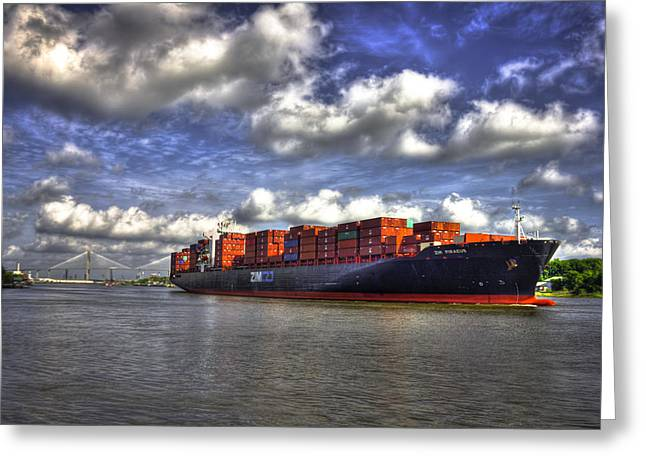 Gpa Greeting Cards - Port Of Savannah Shipping Lanes Greeting Card by Reid Callaway