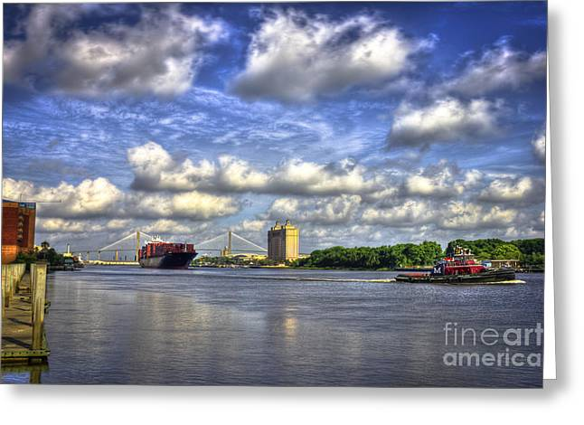 Gpa Greeting Cards - Port of Savannah Shipping Greeting Card by Reid Callaway