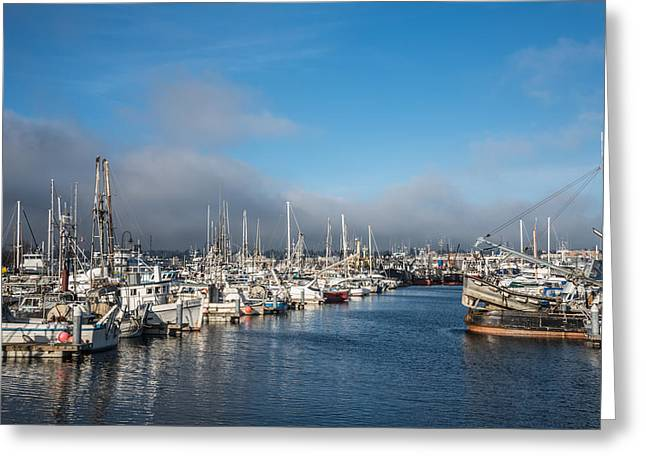 Gill Netter Greeting Cards - Port of Seattle Fishermens Terminal Greeting Card by Denise Lett