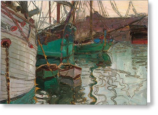 Masts Greeting Cards - Port of Trieste Greeting Card by Egon Schiele