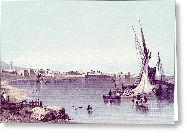 Historical Images Drawings Greeting Cards - Port of Tyre in Lebanon Greeting Card by Blackthorn Visuals
