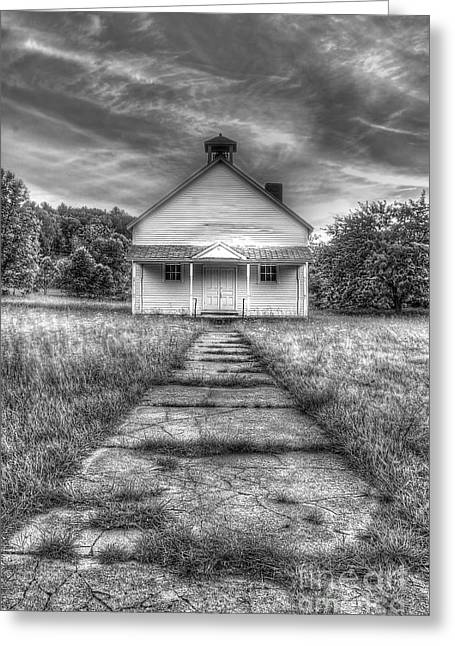 Oneida Greeting Cards - Port Oneida Schoolhouse in Black and White Greeting Card by Twenty Two North Photography