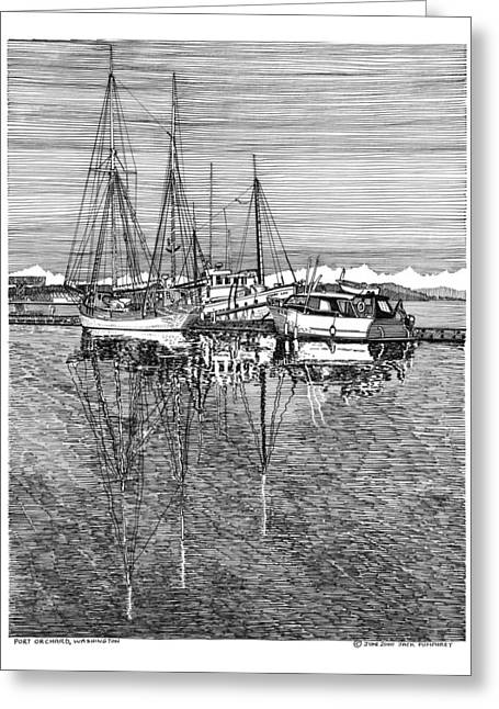 Pen And Ink Framed Prints Greeting Cards - Port Orchard Reflections Greeting Card by Jack Pumphrey