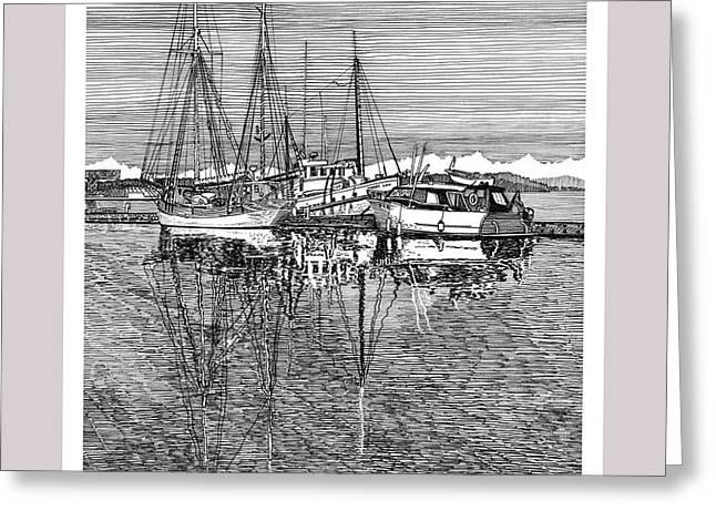 Reflections of Port Orchard Washington Greeting Card by Jack Pumphrey