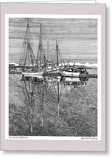 Sailboats In Water Greeting Cards - Reflections of Port Orchard Washington Greeting Card by Jack Pumphrey