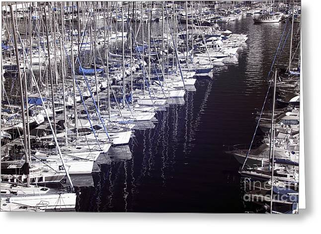 Sailboats Docked Greeting Cards - Port Parking Greeting Card by John Rizzuto