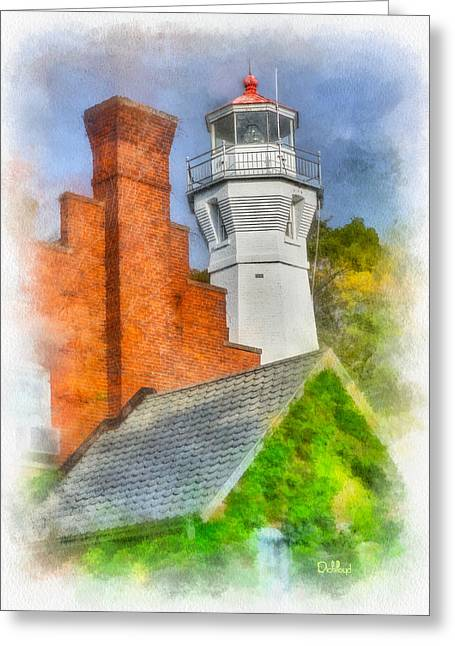 Houses Of Refuge Digital Art Greeting Cards - Port Sanilac Light Greeting Card by Rick Lloyd