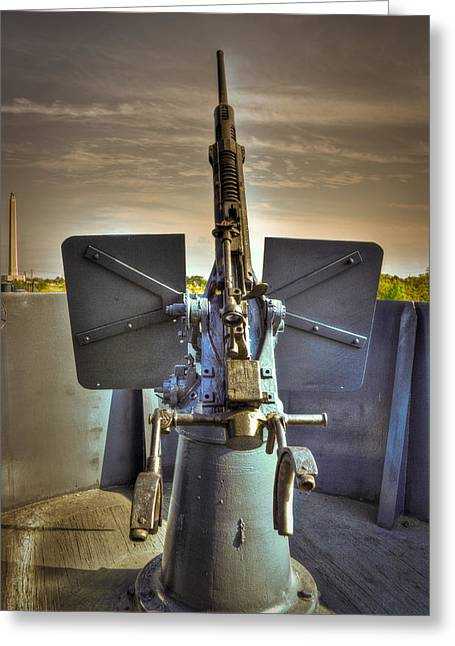 Anti Greeting Cards - Port side AA gun Greeting Card by Ken Shuffield