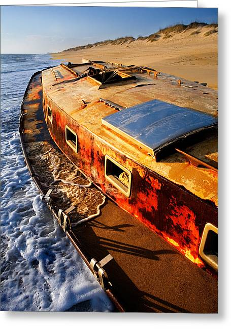 Storm Prints Photographs Greeting Cards - Port Side Down Captain - Outer Banks Greeting Card by Dan Carmichael