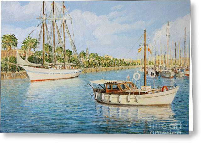 Sailboat Images Paintings Greeting Cards - Port Vell in Barcelona Greeting Card by Kiril Stanchev