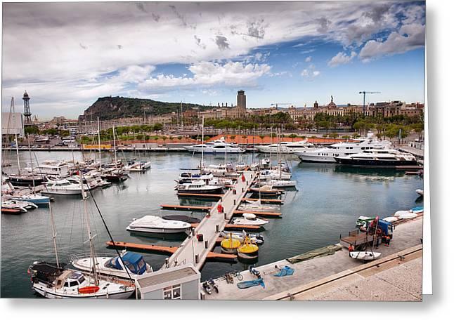 Sailboats Docked Greeting Cards - Port Vell Marina in Barcelona Greeting Card by Artur Bogacki
