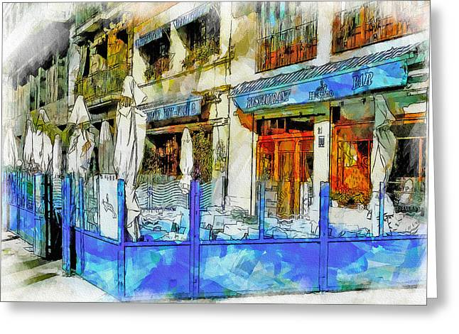 Port Town Digital Art Greeting Cards - Port Vell seafood place in barcelona Greeting Card by Yury Malkov