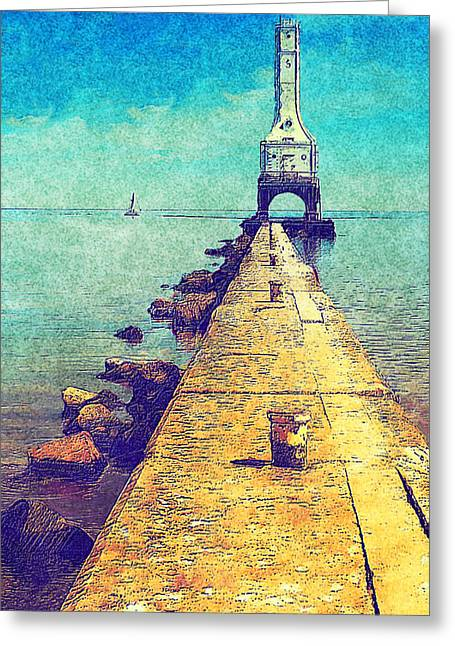 Sailboat Photos Greeting Cards - Port Washington Brakewall Greeting Card by Jack Zulli