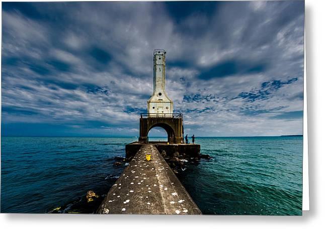 Wisconsin Fishing Greeting Cards - Port Washinton Pierhead Light Greeting Card by Randy Scherkenbach
