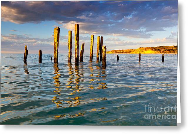 Ruins Photographs Greeting Cards - Port Willunga Jetty Ruins Greeting Card by Bill  Robinson