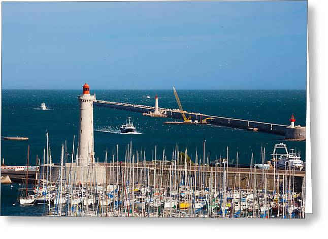 Sailboat Images Greeting Cards - Port With The Mole St-louis Pier Greeting Card by Panoramic Images