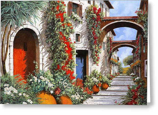 Red Doors Greeting Cards - Porta Rossa Porta Blu Greeting Card by Guido Borelli