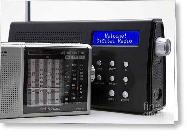 Amplitude Greeting Cards - Portable Analog And Digital Radios Greeting Card by Sheila Terry