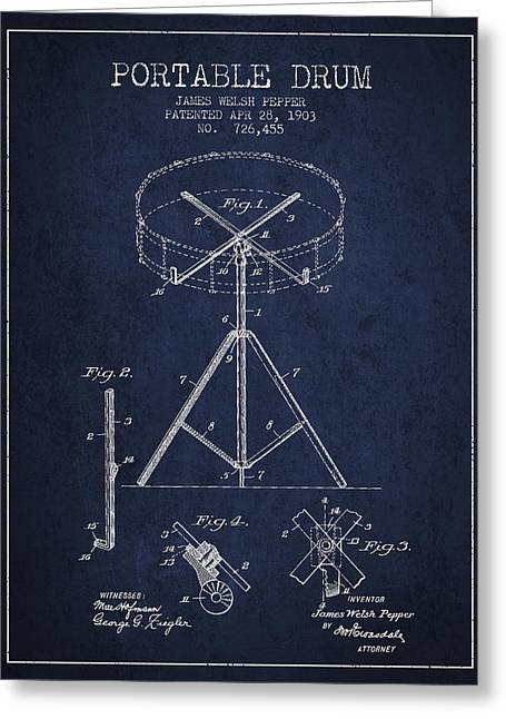 Drum Art Greeting Cards - Portable Drum patent Drawing from 1903 - Blue Greeting Card by Aged Pixel