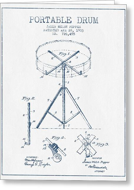Ink Drawing Greeting Cards - Portable Drum patent Drawing from 1903 - Blue Ink Greeting Card by Aged Pixel