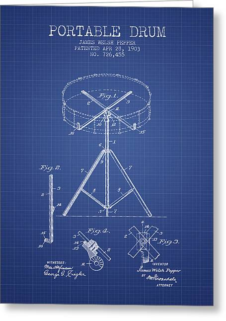 Drum Art Greeting Cards - Portable Drum patent from 1903 - Blueprint Greeting Card by Aged Pixel