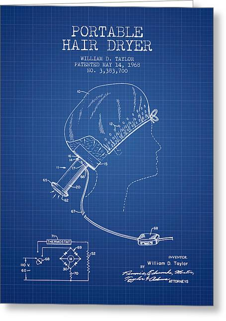 Tongs Greeting Cards - Portable Hair Dryer patent from 1968 - Blueprint Greeting Card by Aged Pixel