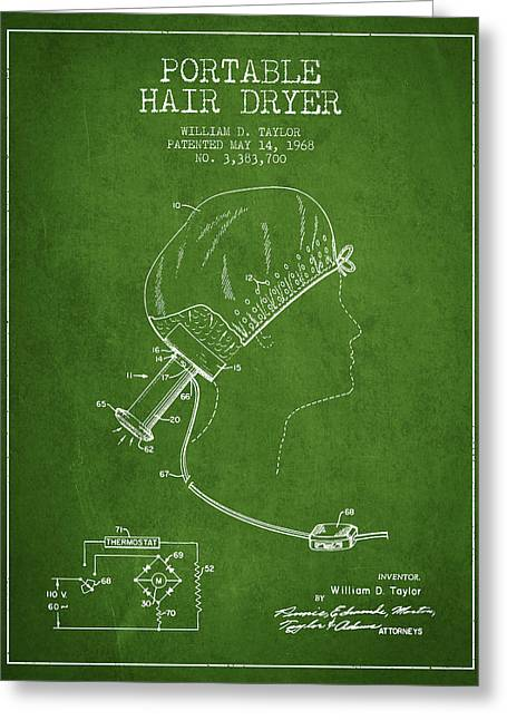 Portable Hair Dryer Patent From 1968 - Green Greeting Card by Aged Pixel