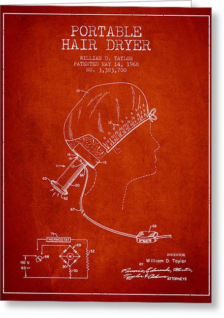 Portable Hair Dryer Patent From 1968 - Red Greeting Card by Aged Pixel