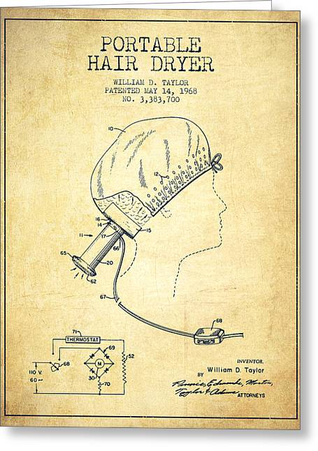Portable Hair Dryer Patent From 1968 - Vintage Greeting Card by Aged Pixel