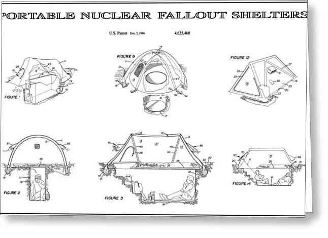Atom Bomb Greeting Cards - Portable Nuclear Fallout Shelters 4 Patent Art 1986 Greeting Card by Daniel Hagerman
