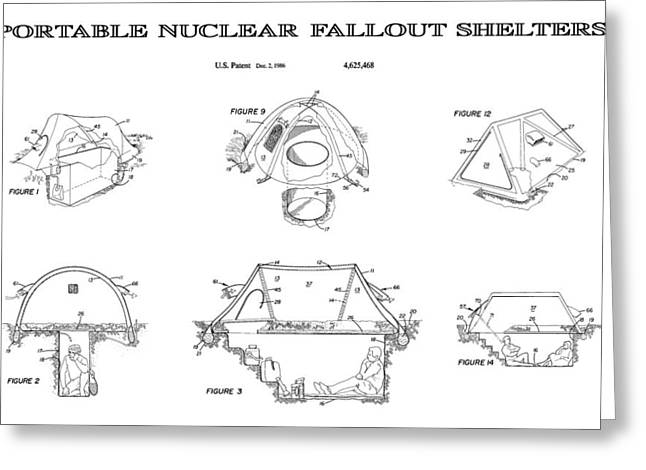 Atom Bomb Greeting Cards - Portable Nuclear Fallout Shelters3  Patent Art 1986 Greeting Card by Daniel Hagerman