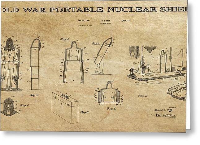 Nuclear Warfare Greeting Cards - Portable Nuclear Shield 2 Patent Art Greeting Card by Daniel Hagerman