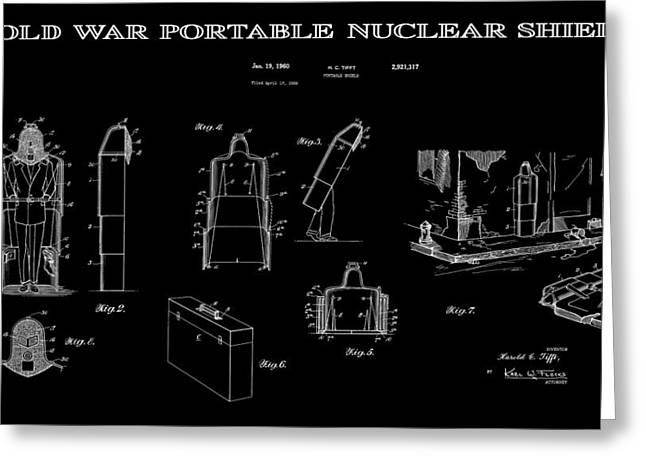 Nuclear Warfare Greeting Cards - Portable Nuclear Shield 3 Patent Art Greeting Card by Daniel Hagerman