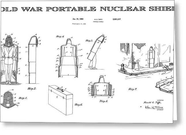 Nuclear Warfare Greeting Cards - Portable Nuclear Shield 4 Patent Art  1960 Greeting Card by Daniel Hagerman