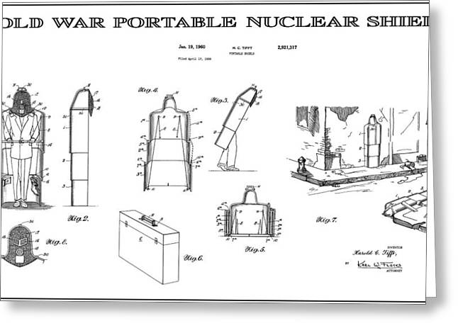 Nuclear Warfare Greeting Cards - Portable Nuclear Shield Patent Art  1960 Greeting Card by Daniel Hagerman