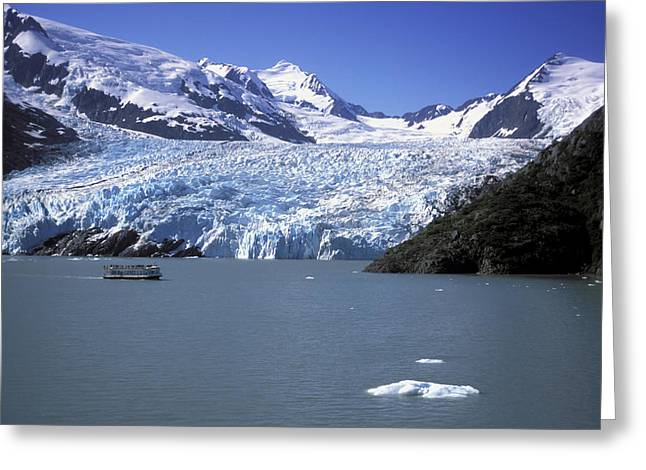 Portage Greeting Cards - Portage Glacier & Mv Ptarmigan Tour Greeting Card by Jeff Schultz