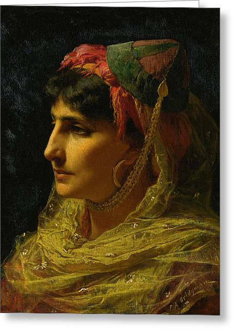 Frederick Greeting Cards - Portait of a Woman Greeting Card by Frederick Arthur Bridgman
