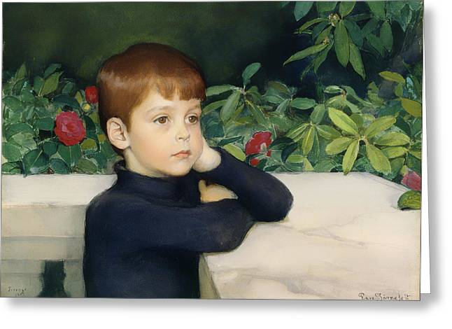 Ledge Greeting Cards - Portait of the Artists Son Greeting Card by Eero Jarnefelt