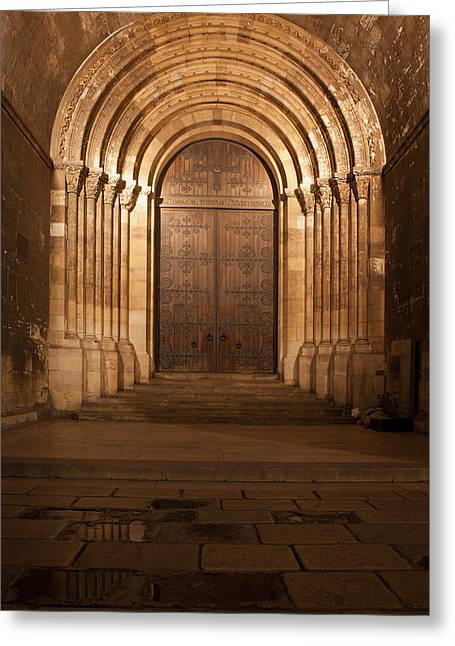 Medieval Entrance Greeting Cards - Portal of the Lisbon Cathedral at Night in Portugal Greeting Card by Artur Bogacki
