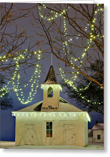 Schoolhouse Greeting Cards - Portal School #2 - Schoolhouse at Christmas Greeting Card by Nikolyn McDonald