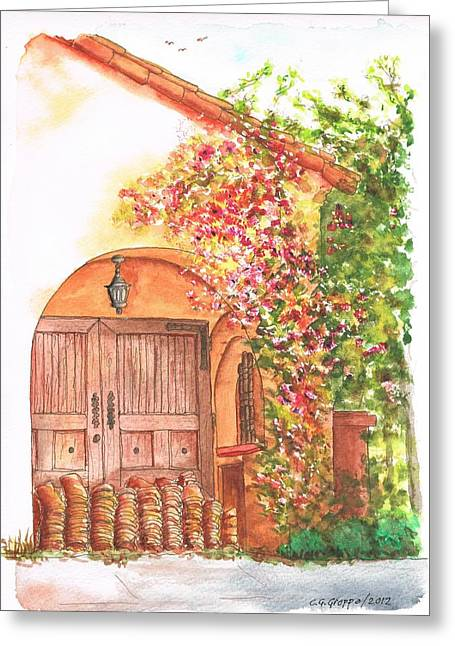 Portal Paintings Greeting Cards - Portal with bouganvilles in Westwood - California Greeting Card by Carlos G Groppa