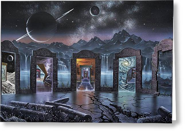 Physical Reality Greeting Cards - Portals to alternate universes, artwork Greeting Card by Science Photo Library