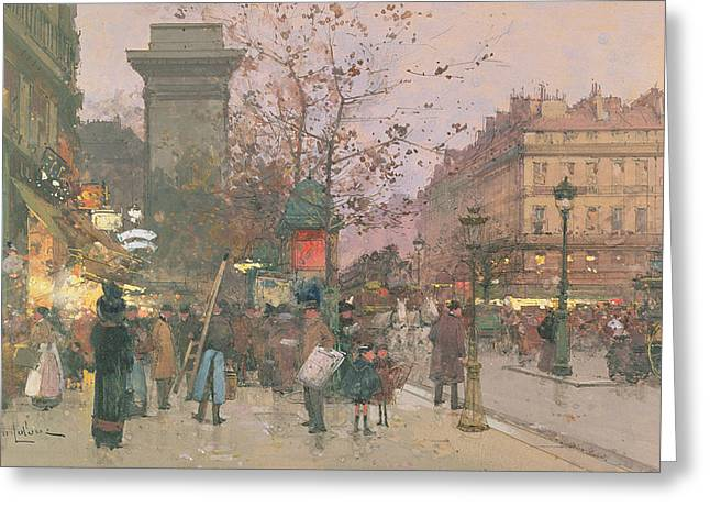 Century Old Greeting Cards - Porte Saint Denis Greeting Card by Eugene Galien-Laloue