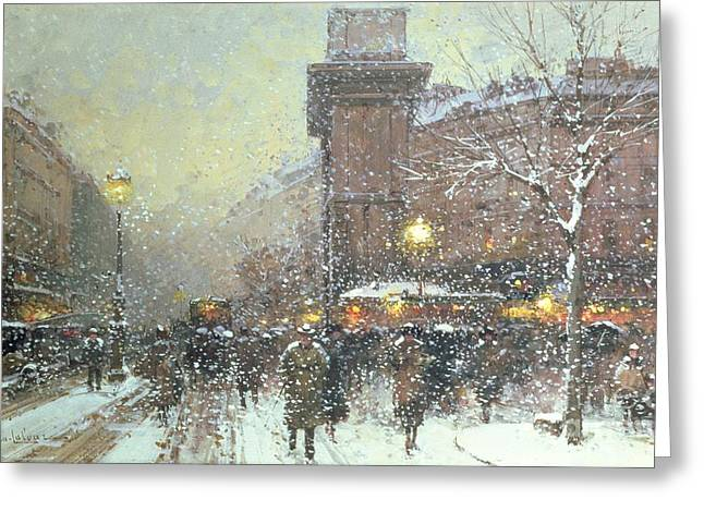 Porte St Martin In Paris Greeting Card by Eugene Galien Laloue