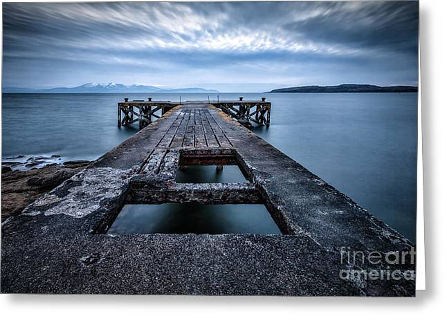 Ayrshire Greeting Cards - Portencross Pier  and views to Arran Greeting Card by John Farnan
