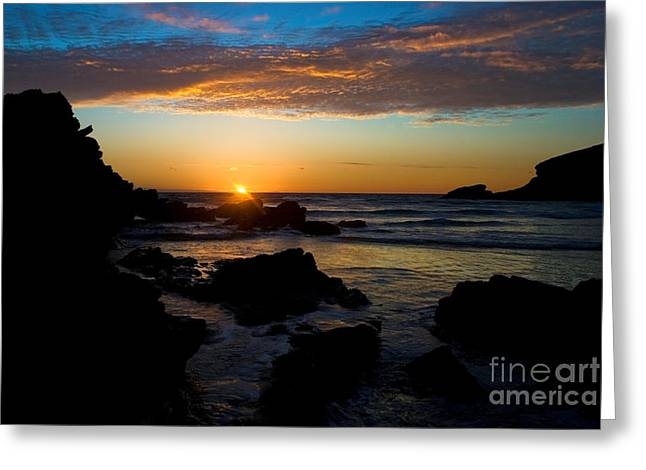 Sunset Prints Greeting Cards - Porth Beach Cornwall Rocks at Sunset 0972 Greeting Card by Colin Munro