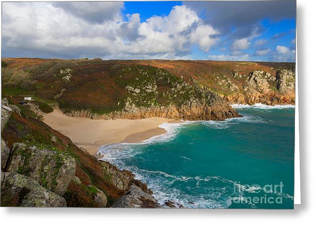 Cornish Beaches Greeting Cards - Porthcurno beach and cliffs Greeting Card by Louise Heusinkveld